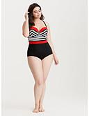 זול בגדי ים במידות גדולות-שחור XL XXL XXXL גב חשוף פסים קולור בלוק, בגדי ים חלק אחד (שלם) נועזת שחור בסיסי בוהו מידות גדולות בגדי ריקוד נשים