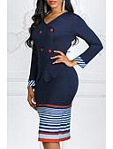 cheap Women's Coats & Trench Coats-Women's Bodycon Dress Stripe Fashion V Neck Spring Blue Purple XXXL XXXXL XXXXXL