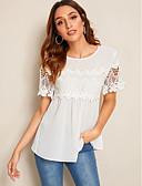 hesapli Bluz-Kadın's Bluz Solid Beyaz