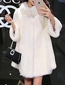 povoljno Ženske kaputi od kože i umjetne kože-Žene Dnevno Jesen zima Normalne dužine Faux Fur Coat, Jednobojni Dolčevita Dugih rukava Umjetno krzno Crn / Obala