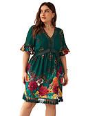 hesapli Büyük Beden Elbiseleri-Kadın's Zarif Çan Elbise - Geometrik, Örümcek Ağı Midi