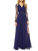 billige Todelte kjoler-A-linje V-hals Gulvlang Chiffon Formell kveld Kjole med Delt front / Blondeinnlegg av LAN TING Express