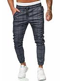 זול מכנסיים ושורטים לגברים-בגדי ריקוד גברים בסיסי Jogger / צ'ינו מכנסיים - משובץ קשת US34 / UK34 / EU42 US36 / UK36 / EU44 US38 / UK38 / EU46