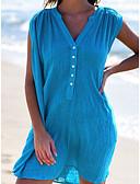hesapli Mini Elbiseler-Kadın's Temel Şifon Gömlek Elbise - Solid Diz üstü