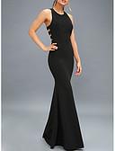 זול שמלות ערב-מעטפת \ עמוד קולר עד הריצפה פוליאסטר גב פתוח ערב רישמי שמלה עם קפלים על ידי LAN TING Express