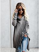 baratos Suéteres de Mulher-Mulheres Listrado Manga Longa Carregam, Decote Redondo Outono / Inverno Laranja / Cinzento S / M / L