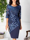 זול שמלות מודפסות-עד הברך תחרה דפוס, גיאומטרי - שמלה ישרה תחרה אלגנטית בגדי ריקוד נשים