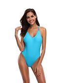 hesapli Bikiniler ve Mayolar-Kadın's Sportif Temel Havuz Boyundan Bağlamalı Yarım Tanga Tek Parçalılar Mayolar - Solid Arkasız Bağcık S M L Havuz