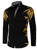 hesapli Erkek Gömlekleri-Erkek Gömlek Geometrik Boho Siyah