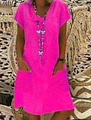 billige Skjorter til damer-Dame Grunnleggende Skiftet Kjole - Ensfarget Ovenfor knéet