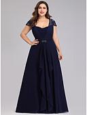 povoljno Maturalne haljine-A-kroj Scoop Neck Do poda Šifon / Til Formalna večer Haljina s Kristalni detalji / Falte po LAN TING Express
