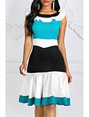 hesapli Kadın Elbiseleri-Kadın's Kılıf Elbise - Zıt Renkli Diz-boyu