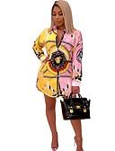 hesapli Mini Elbiseler-Kadın's Gömlek Elbise - Zıt Renkli Mini