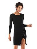 hesapli Sweater Dresses-Kadın's Sokak Şıklığı Zarif Kılıf Elbise - Solid, Bağcık Diz üstü