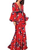 povoljno Ženske haljine-Žene Ulični šik Sofisticirano Swing kroj Sirena kroj Haljina Cvjetni print Karirani uzorak Maxi