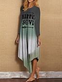 hesapli Mini Elbiseler-Kadın's Kombinezon Elbise - Zıt Renkli Asimetrik