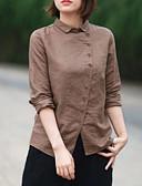 hesapli Gömlek-Kadın's Gömlek Solid Açık Kahverengi
