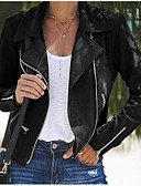 hesapli Mini Elbiseler-Kadın's Günlük Kısa Ceketler, Solid Aşağı Dönük Uzun Kollu Polyester Siyah / Gri / Haki