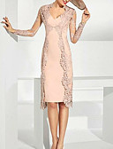 זול חליפות לנושאי הטבעת-שני חלקים צלילה באורך  הברך תחרה שמלה לאם הכלה  עם תחרה על ידי LAN TING Express / עטיפה כלולה