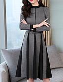 זול שמלות מקרית-מידי טלאים, קולור בלוק - שמלה גזרת A בגדי ריקוד נשים