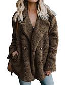 povoljno Ženski džemperi-Žene Dnevno Jesen zima Normalne dužine Faux Fur Coat, Jednobojni Klasični rever Dugih rukava Umjetno krzno Crn / Svijetlosiva / Braon