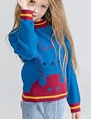 baratos Suéteres & Cardigans para Meninas-Infantil Para Meninas Básico Estampado Manga Longa Suéter & Cardigan Azul