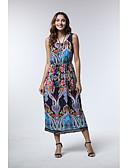 hesapli Vintage Kraliçesi-Kadın's Boho A Şekilli Elbise - Geometrik Midi