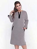 זול שמלות במידות גדולות-מידי טלאים, Houndstooth - שמלה ישרה נדן מתוחכם אלגנטית בגדי ריקוד נשים