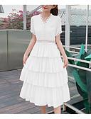 hesapli Print Dresses-Kadın's Trompet / Balık Etekler - Solid Beyaz Doğal Pembe S M L