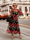 povoljno Maxi haljine-Žene Osnovni Elegantno Swing kroj Haljina - Čipka Kolaž Vezeno, Cvjetni print Maxi Rose