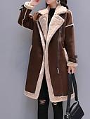 billige Kvinner Fur & Faux Fur Coats-Dame Daglig Høst vinter Lang Faux Fur Coat, Fargeblokk Hakkjakkeslag Langermet Polyester Svart / Kamel / Grå