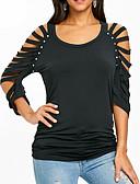 hesapli Maksi Elbiseler-Kadın's Tişört Solid Siyah