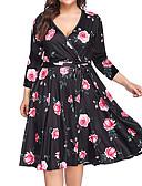 זול שמלות במידות גדולות-עד הברך פרחוני גיאומטרי - שמלה סווינג בוהו בגדי ריקוד נשים