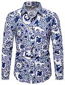 hesapli Erkek Gömlekleri-Erkek Gömlek Desen, Çiçekli / Zıt Renkli Çin Stili / Zarif Havuz