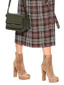 hesapli Print Dresses-Kadın's Çizmeler Kalın Topuk Kapalı Burun Süet Bootiler / Bilek Botları İngiliz / Minimalizm İlkbahar & Kış / Kış Kahverengi / Parti ve Gece