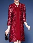 billige Todelt dress til damer-Todelt Besmykket Knelang Polyester Kjole til brudens mor med Broderi av LAN TING Express