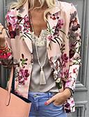 hesapli Maksi Elbiseler-Kadın's Günlük Normal Ceketler, Bitkiler Sivri Yaka Uzun Kollu Polyester Doğal Pembe S / M / L