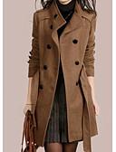 זול שמלות מקרית-בגדי ריקוד נשים יומי סתיו חורף רגיל מעיל, אחיד צווארון נגלל שרוול ארוך פוליאסטר חום / שחור