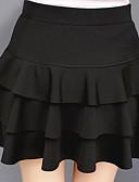 hesapli Kadın Etekleri-Kadın's Temel Mini A Şekilli Etekler - Solid Büzgülü Siyah XL XXL XXXL