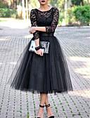 hesapli Romantik Dantel-Kadın's Temel A Şekilli Elbise - Solid Midi