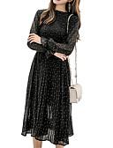 hesapli Print Dresses-Kadın's A Şekilli Elbise - Yuvarlak Noktalı Midi