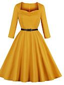 povoljno Vintage kraljica-Žene Osnovni Swing kroj Haljina Jednobojni Do koljena