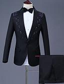 hesapli Erkek Blazerları ve Takım Elbiseleri-Erkek Suit, Solid Çentik Yaka Yünlü / Polyester / Naylon Havuz / YAKUT / Kahverengi US32 / UK32 / EU40 / US36 / UK36 / EU44 / US38 / UK38 / EU46