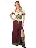 hesapli Oktoberfest-Karnaval Kasım Festivali üstü dar altı geniş elbise Trachtenkleider Kadın's Elbise Başlık Bavyera Kostüm Kahve