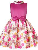 זול שמלות לילדות פרחים-גזרת A מעל הברך / באורך  הברך שמלה לנערת הפרחים  - פוליאסטר / תערובת כותנה\פוליאסטר ללא שרוולים / שרוולים קצרים צווארון גבוה / עם תכשיטים עם דוגמא \ הדפס / חגורה על ידי LAN TING Express