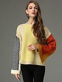 abordables Pulls & Gilets Femme-Femme Géométrique Manches Longues Pullover, Col Arrondi Automne / Hiver Vert / Kaki Taille unique