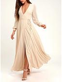 זול שמלות מקסי-גזרת A צווארון V עד הריצפה שיפון ערב רישמי שמלה עם כפתורים / שסע קדמי על ידי LAN TING Express