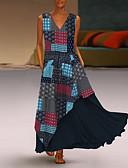 abordables Robe Demoiselle d'Honneur-Femme Maxi Balançoire Robe Bloc de Couleur Jaune Rouge Vert S M L Manches Longues
