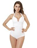 hesapli Bikiniler ve Mayolar-Kadın's Sportif Temel Beyaz Boyundan Bağlamalı Yarım Tanga Tek Parçalılar Mayolar - Solid Arkasız Bağcık S M L Beyaz