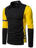 hesapli Erkek Tişörtleri ve Atletleri-Erkek Polo Kırk Yama, Zıt Renkli Temel Mavi & Beyaz Siyah